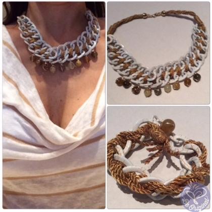 Collar y pulsera con cadena de aluminio tejido con cordon de algodón
