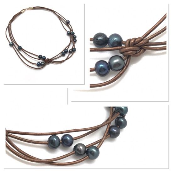 e880aec28f2f Collar corto de cuero y perlas con un nudo que le da ese toque  diferente.Texturas en la bisutería es por excelencia lo que hace que  tengamos ganas de ...